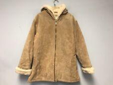 Women's Ladies ST.JOHNS BAY Genuine Leather Suede Hoodie Coat Size L Beige