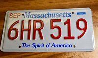 "Massachusetts ""Spirit of America"" License Plate 6HR 519 Set Offers Welcome"