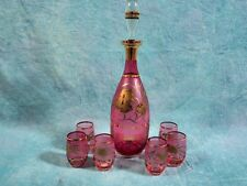 Liquor Set of Bohemian Crystal Red Ruby Decanter Set Gold Gilt