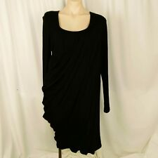 MUCCIA Women's Dress Size 12 Black Long Sleeve Draped Asymmetrical 100% Merino
