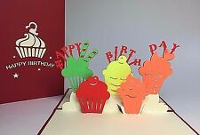 Colorful Cupcakes. Kirigami Handmade 3D Birthday/Thank You/Get Well Pop Up Card
