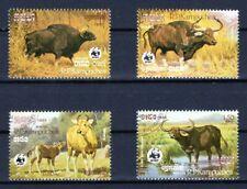 KAMPUCHEA 1986 WWF WORLD WILDLIFE ANIMALS OX STAMPS SET MNH CTO