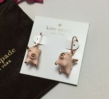 NEW KATE SPADE Rose Gold Pink Multi Imagination Pig Drop Earrings W/ KS Bag $58
