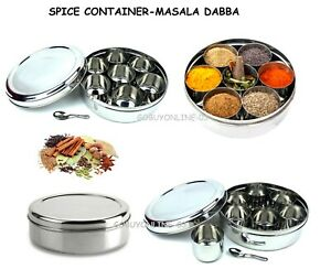 Authentic Indian Spice Tin Masala Dabba Spices Box Tin Storage FREE Spoon Jar