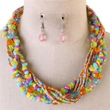 Multi Strand Multi Color Mix Bead Necklace Earring Set