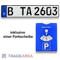 1 Standard Autokennzeichen | Nummernschild inklusive einer Parkscheibe