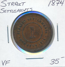 STRAIT SETTLEMENTS ONE CENT 1874 - VF