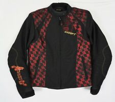 SHIFT Womens Armored Motorcycle Black Red Rose Heart Zip Liner Jacket Sz Medium