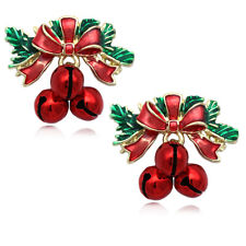 Christmas Bow Ribbon Red Jingle Bell Charm Stud Post Earrings Holiday Gift