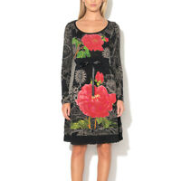 Desigual VEST ROBERT Black Red Floral Printed Dress Size XS M L XL
