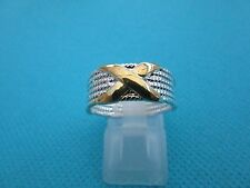 Silver And Gold Plated Kisses Ring Unisex Pinky UK O 1/2, US 7.50  (rg0162)