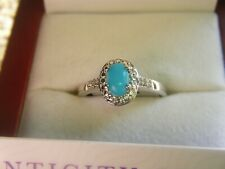 Sleeping Beauty Turquoise and Diamond Silver Ring