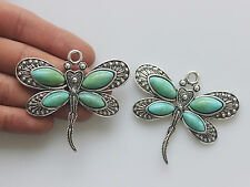 5 Turquoise & Silver Large Dragonfly Charms Pendant Beads Jewelry Findings 60mm