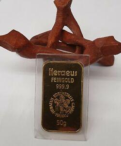 50 g Gold AU Barren Heraeus Goldbarren 999,9