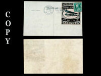 USA 1911 VIN FIZ 25¢ & ONE CENT GREEN REVERSE POSTAL TO TEXAS ,  COPY