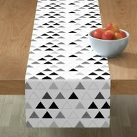Table Runner Geometric Black White Triangles Mod Cotton Sateen