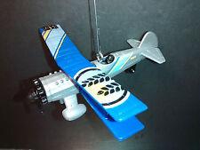 Biplane Christmas Tree Ornament Blue Silver Stunt Airplane