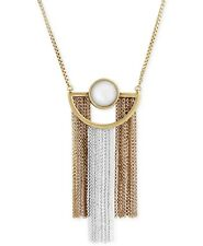 $45 Lucky Brand Two-Tone Imitation Pearl Fringe Pendant Necklace