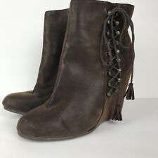 Coconuts Brown Suede Like Wedge Heel Ankle Booties Size 8.5 Zip Lace