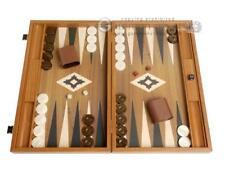 19-inch Wood Backgammon Set - Walnut Board with Printed Field and Side Racks