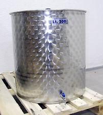 5346 Deposito acero inoxidable aceite oliva fondo plano, tapa y grifo 200 L