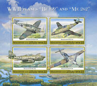 Maldives Military Aviation Stamps 2020 MNH WWII WW2 Planes Messerschmitt 4v M/S