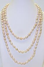 """Genuine Fresh Water Pearl Peach Oval Shape Necklace 64"""" With Clasp # 38032-4"""