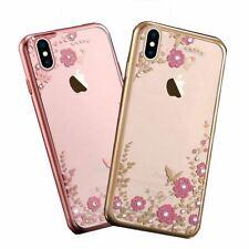 Soft Gel Case For iPhone X 8 7 6 5s 5 Flower Bling Glitter Diamond Sparkly Cover