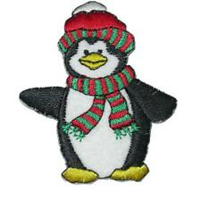 Penguin with Red Hat Iron On Applique x 1