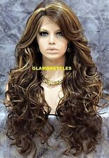 Long Wavy Layered Bangs Brown Blonde Mix Full Lace Front Wig Heat Ok Hair Piece