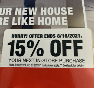 Home Depot 15% OFF Coupon Entire In-Store Purchase (Max Save Up to $200 Off)