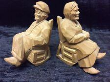 Depression Hobo Tramp Art ~ Wood ~ Signed ~ Pair Hand Carved Figures Primitive