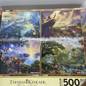 Disney Thomas Kinkade 4 Puzzle Set Peter Pan Lion King Jungle Book Pinocchio New