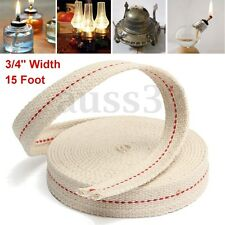 "3/4"" 15ft Feet White Flat Cotton Oil Lamp Wick Roll For Oil Lamps and Lanterns"