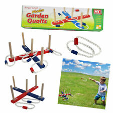 Garden Quoits Game, Wooden Pegs & Rope, Outdoor Hoopla Family Activity, Kids Toy