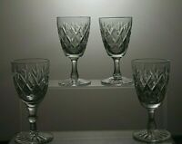 CUT GLASS LEAD CRYSTAL SHERRY OR PORT GLASSES SET OF 4