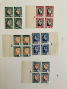 South Africa 1937 Coronation Bilingual in marginal blocks of 4 (except 1/2d) MNH