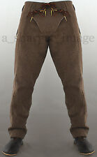 """Medieval Pants Brown Wool Knight Sca Costume Padded Codpiece 3 sizes 36""""-40"""" W"""