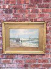 Signed 1893 Watercolor By Jesse Leach France Herring Boats On The Beach Holland