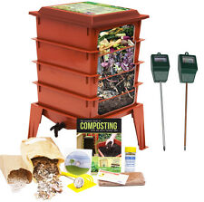 Worm Factory 360 Farm Compost / Vermicompost Bin (Red) + Moisture & pH Sensors
