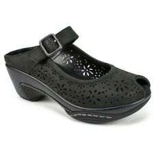 White Mountain Black Leather Floral Cut Miso Mules Open Toe Clogs Womens Size 7