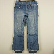 Burton Gore Tex Blue Jeans Ski Snowboarding Pants Adjustable Waist Womens Sz M