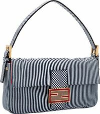Fendi Baguette Red White and Blue Canvas Striped Hand BAG Limited Edition NEW