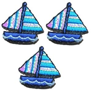 Mini Sailboat Applique Patch - Shimmery Sailing Nautical Badge (3-Pack, Iron on)