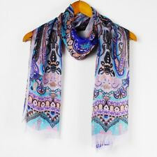 New Royal Blue Silk Scarf Designer Style Elegant Long Shawl Paisley 180 x 62cm