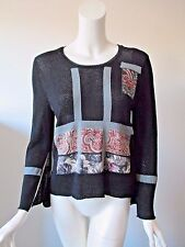 Barbara Who? Black Patch Work Crew Neck Long Sleeve Meshy Knit Sweater Top S