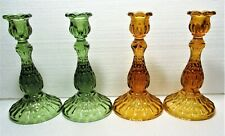 New Listing2 Sets Fenton Tall Glass Candlesticks, 1 Pr Orange/Amber, The Other Green, Mint