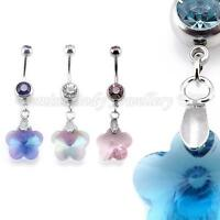 Double Crystal Gem Ray Prism Flower Belly Bar 14G (1.6mm x 10mm) IN 4 COLOURS