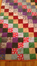 """Home made Quilt 67 x 40"""" Canada 4"""" squares flannelette back, overcast edge"""