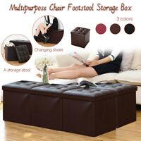 Folding Ottoman Storage Box Pouffe Seat Stool Home Chair Footstool Storage Bench